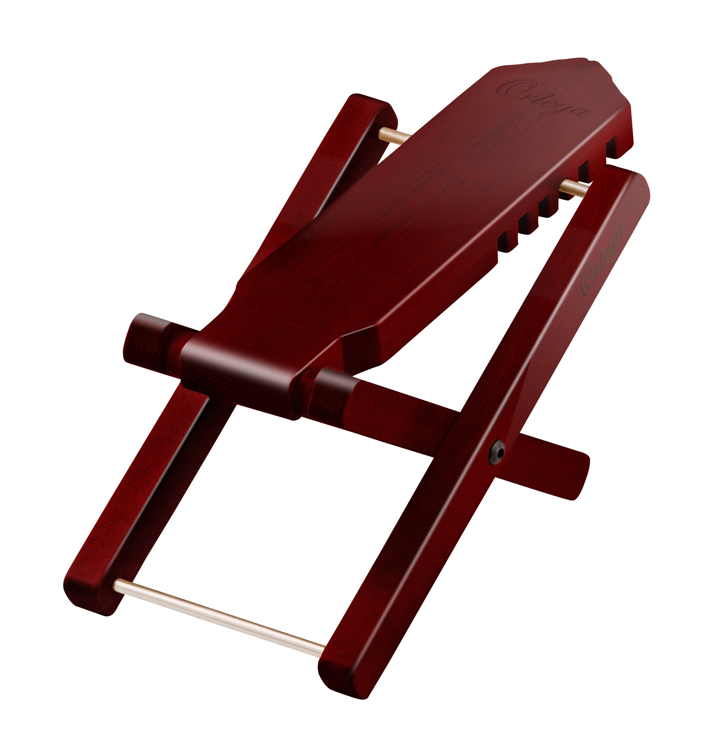 Ortega Guitars OWFS-1WR Wooden Wine Red Finish Foot Stool with 5 Adjustable Height Settings