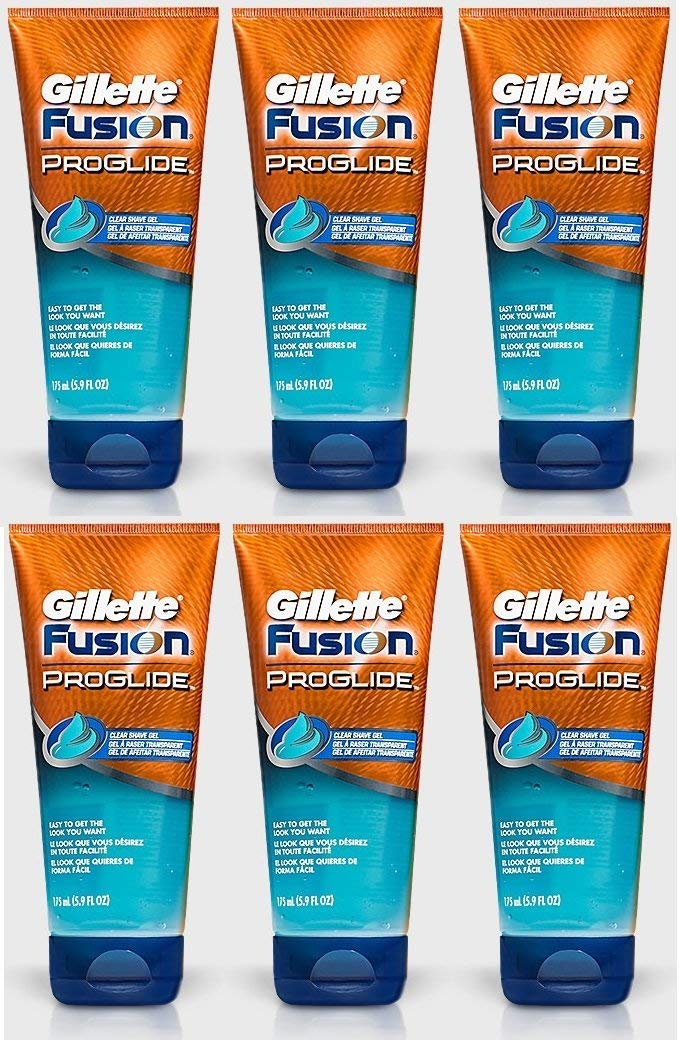 6x GILLETTE FUSION PROGLIDE TRANSPARENT SHAVING GEL 175ml