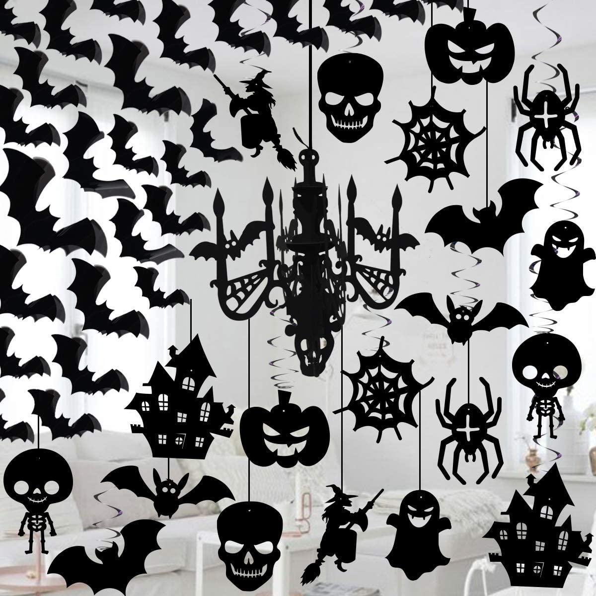 Halloween 3D Chandelier Hanging, foil Swirl Decorations and 3D Waterproof Bat Wall Stickers Set by ForceMaxe