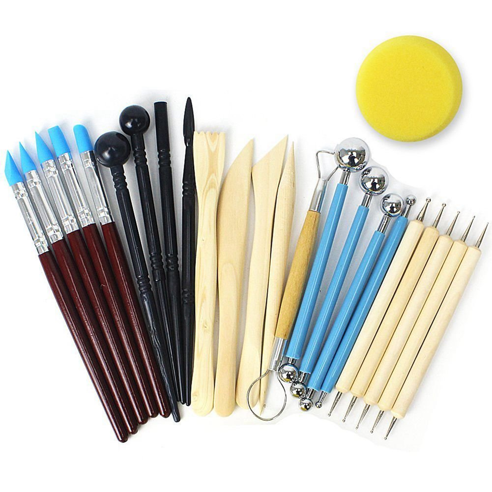 Clay Pottery Modeling Set Carving Tools Painting Kit for Sculpture Pottery Iycorish 24pcs Ball Stylus Dotting Tools