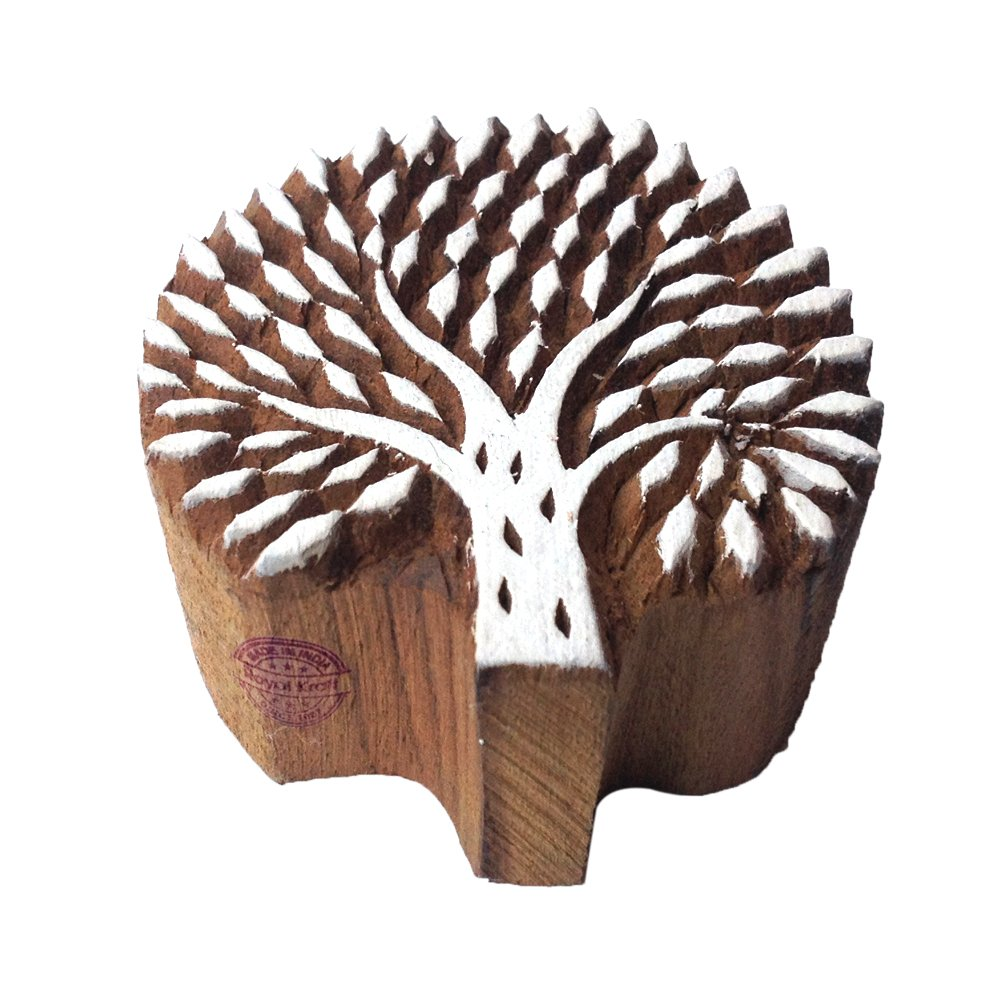 Handcrafted Floral Design Beach Tree Wooden Stamp Printing Block Royal Kraft THGtag040