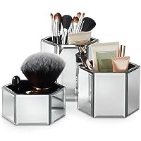 verschönern Glas Sechseck Aufbewahrungsdosen für Make-up, Pinsel, Schmuck & Zubehör–Set von 3inkl. GRATIS Glas Reinigungstuch