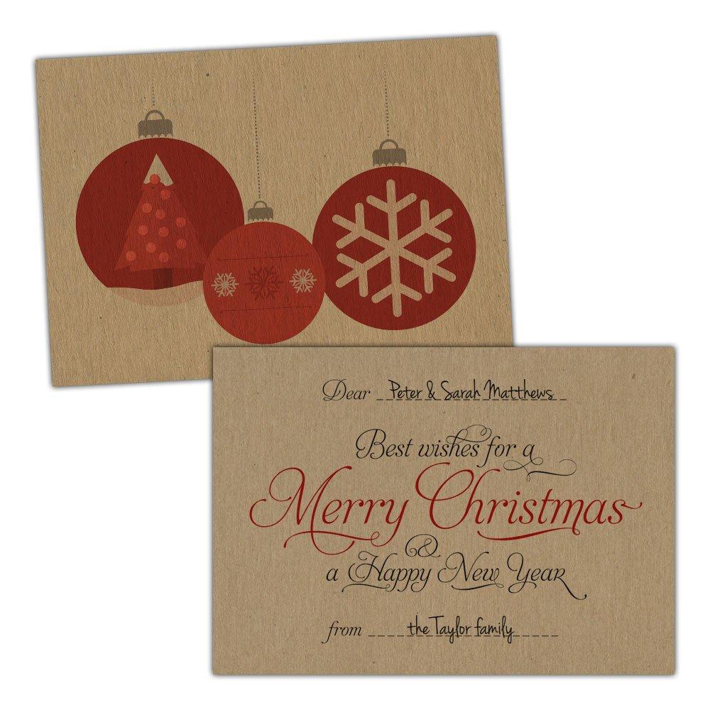 Marronee kraft Christmas cards SCRIPT ORNAMENTAL BALLS FREE KRAFT ENVELOPES (200, A6 bianca Fleck card)