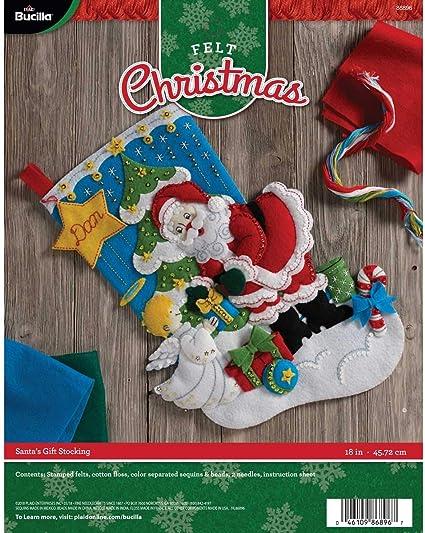 Bucilla 18-Inch Christmas Stocking Felt Applique Kit 86647 Nordic Santa