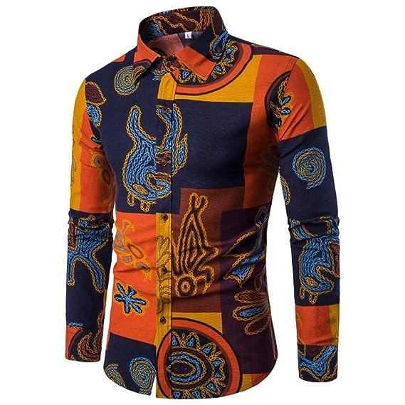 Yvelands Hombres Super Moda Personalidad Solapa Casual Multicolor Negocios Slim Fit Manga Larga Camisa de Impresión Chaqueta Abrigo Outwear Sport Blusa Tops ...