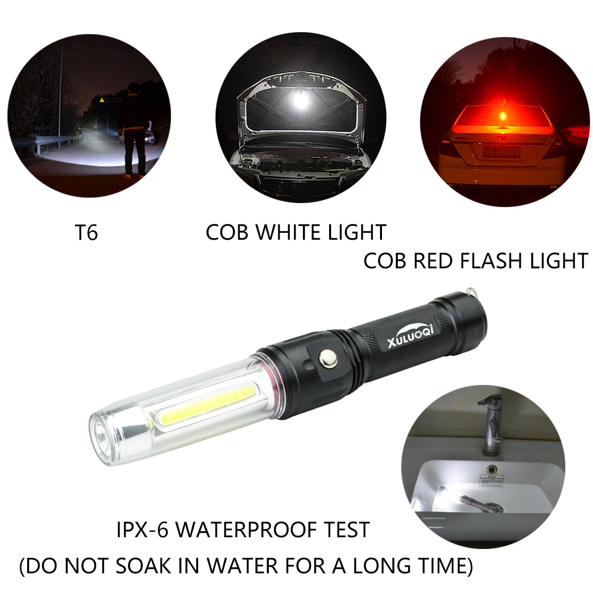 XULUOQI Work Light Super Bright LED Flashlight, Multi-function Flashlight 3 in 1 rechargeable Work Light - 900 Lumens Handheld Emergency Light with Magnetic Base Safety Roadside Light Car Maintenance by XULUOQI (Image #2)