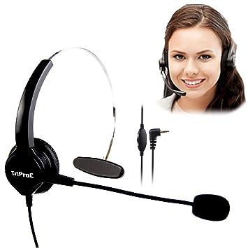 TriProC - Auriculares de diadema DC 2,5 mm para teléfonos móviles, compatibles con Jabra Cisco Polycom Panasonic: Amazon.es: Electrónica
