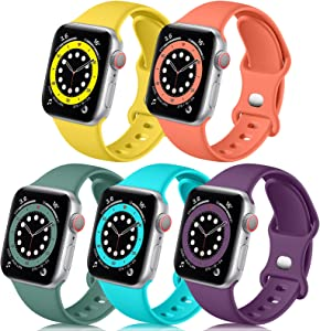 Easuny Compatible with Apple Watch Band 44mm 42mm Women Men - Soft Sport Silicone Wristbands Replacement for iWatch Bands SE Series 6/5/4/3/2/1,5 Pack of Mango-Yellow Teal Coral Pine-Green Purple