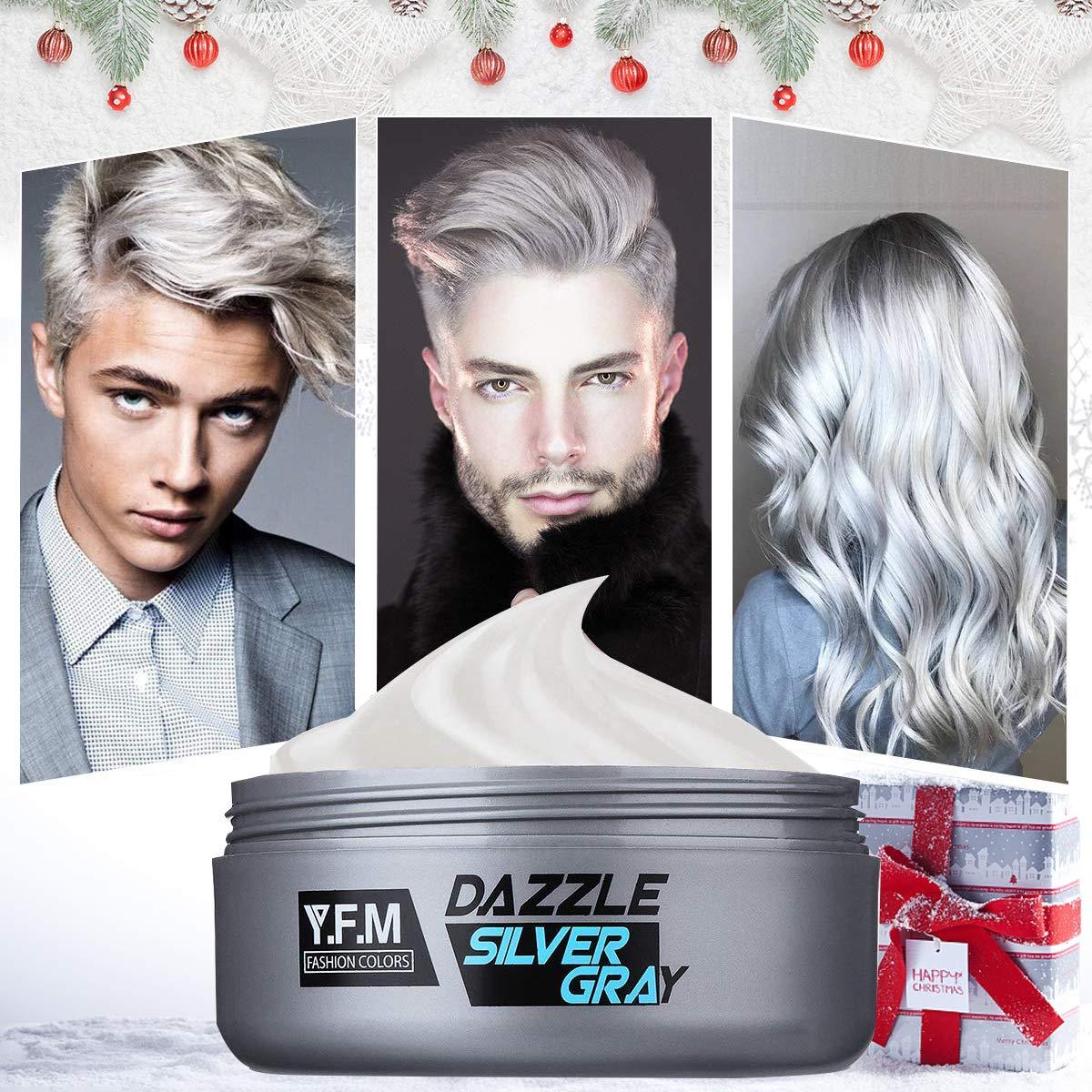 Tintura per capelli Y.F.M. Argento grigio cera stile capelli forma semplice  Tintura capelli Facilità di pulizia 4ffc9d74b386