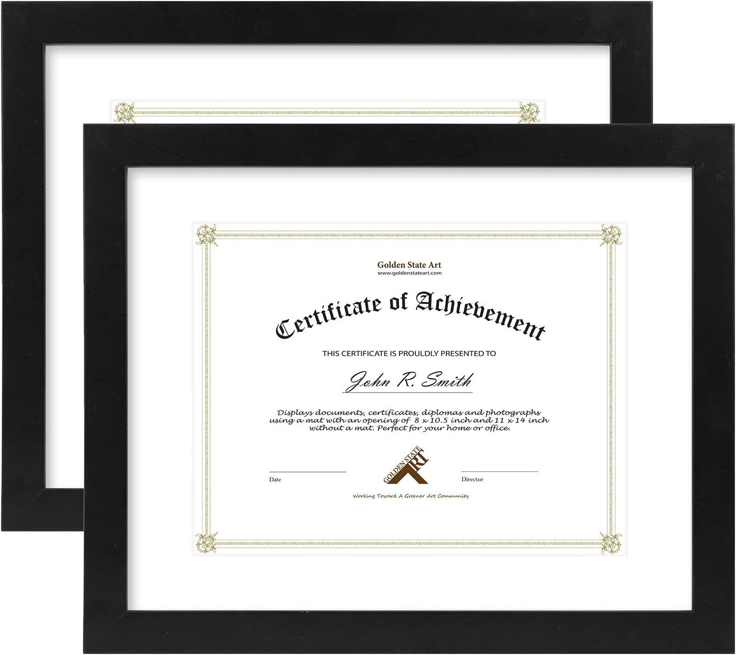 Golden State Art, 11x14 Document/Photo Wood Frame for 8.5x11 Document & Certificates, Real Glass, Black with Single White Mat (2-Pack)