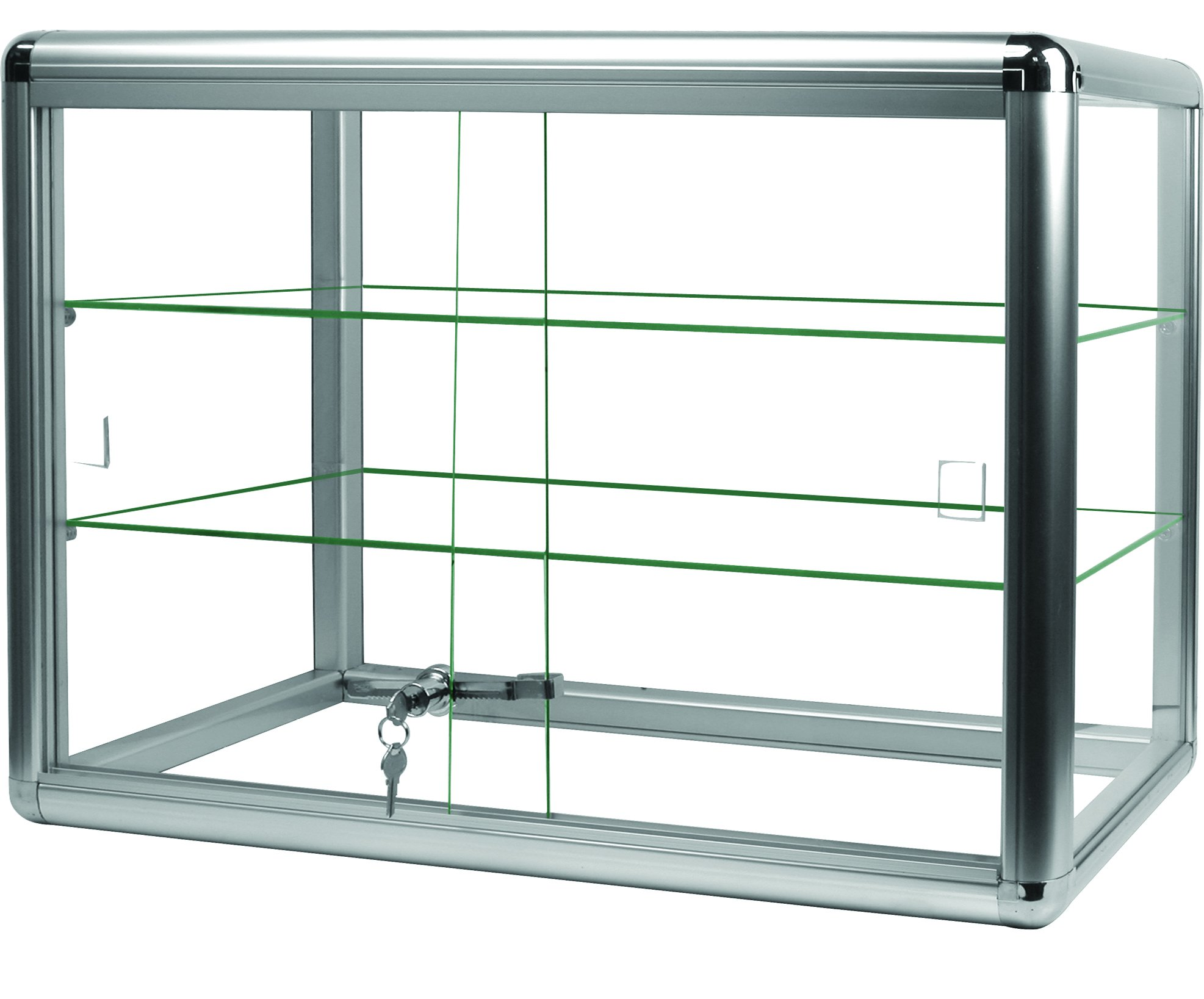 Elegant Silver Anodized Aluminum Display Table Top Tempered Glass Show Case. Sliding Tempered Glass Sliding Doors with Key Lock (24''wide x 12''deep x 18''H (2 Shelves), Silver Trim)