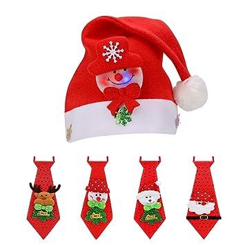 QKURT Conjunto de Navidad, Gorra de Navidad 4 unids LED Corbata no ...