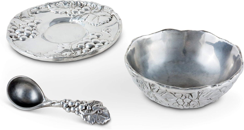 Arthur Court Designs Aluminum 3-Pieces Antler Condiment Server Bowl 5.25 Diameter Plate 7 Diameter