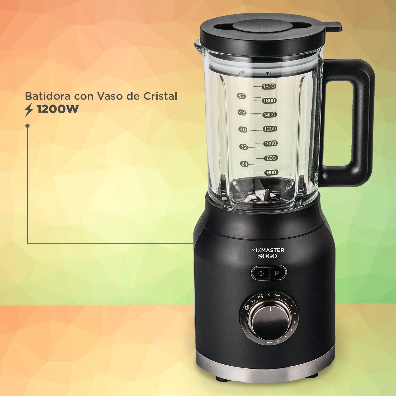 Sogo Mix Master Batidora de vaso, Licuadora americana de 1200W con jarra de cristal de 1.6L, cuchilla de 6 hojas de acero inoxidable, Color: Negro: ...