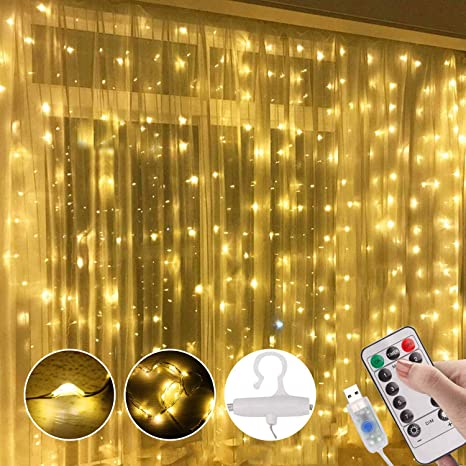 Window Curtain String Light 300 Led 8 Lighting Modes Fairy Lights Remote Control Usb Powered Waterproof Lights For Christmas Bedroom Party Wedding Home Garden Wall Decorations Warm White