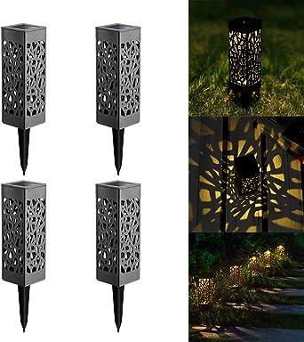 Lámpara solar LED para jardín, lámpara de jardín para exterior, resistente al agua IP55, lámpara solar decorativa para exterior, jardín, césped, patio, patio, blanco cálido, 4 unidades 0.06volts: Amazon.es: Iluminación