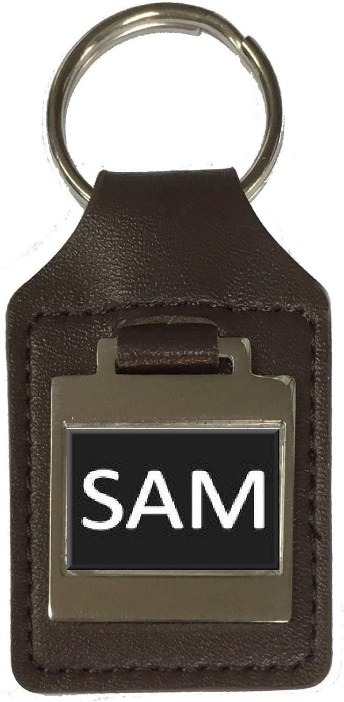 Sam Leather Keyring Birthday Name Optional Engraving