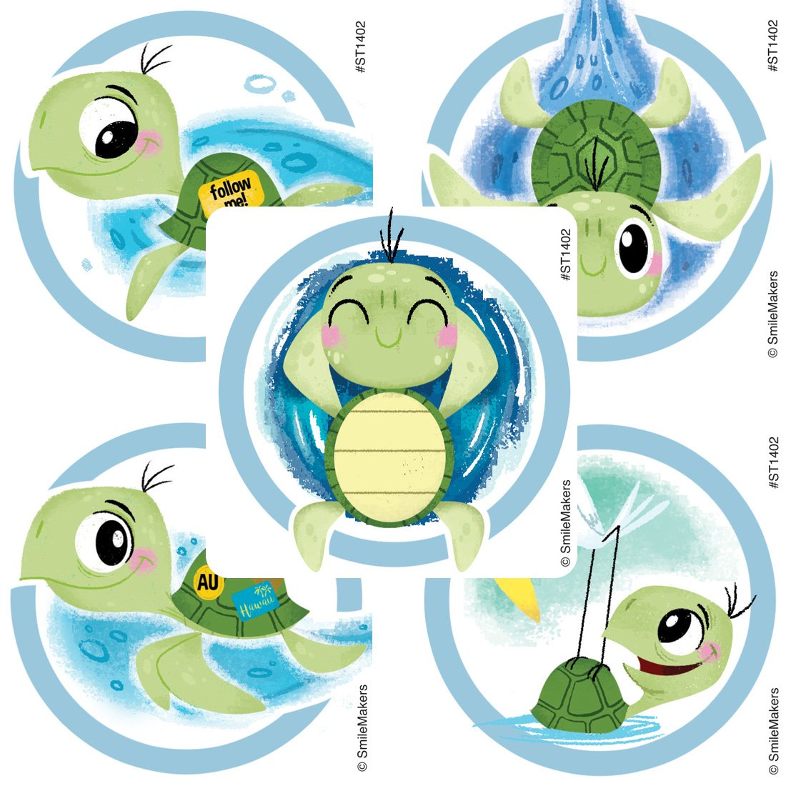 Sea Turtle Stickers - Prizes and Giveaways - 100 per Pack