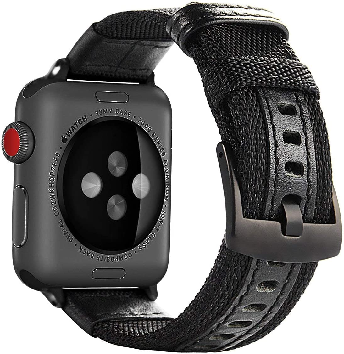 Maxjoy Compatible with Apple Watch Band, 42mm 44mm Nylon Strap Replacement Bands with Metal Clasp Compatible with Apple iWatch Series SE 6 5 4 3 2 1 Sport & Edition, Black