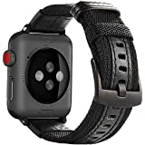 Maxjoy Compatible with Apple Watch Band, 38mm 40mm Nylon Watch Strap Replacement Bands with Metal Clasp Compatible with Apple iWatch Series 4 Series 3 Series 2 Series 1 Sport & Edition, Black