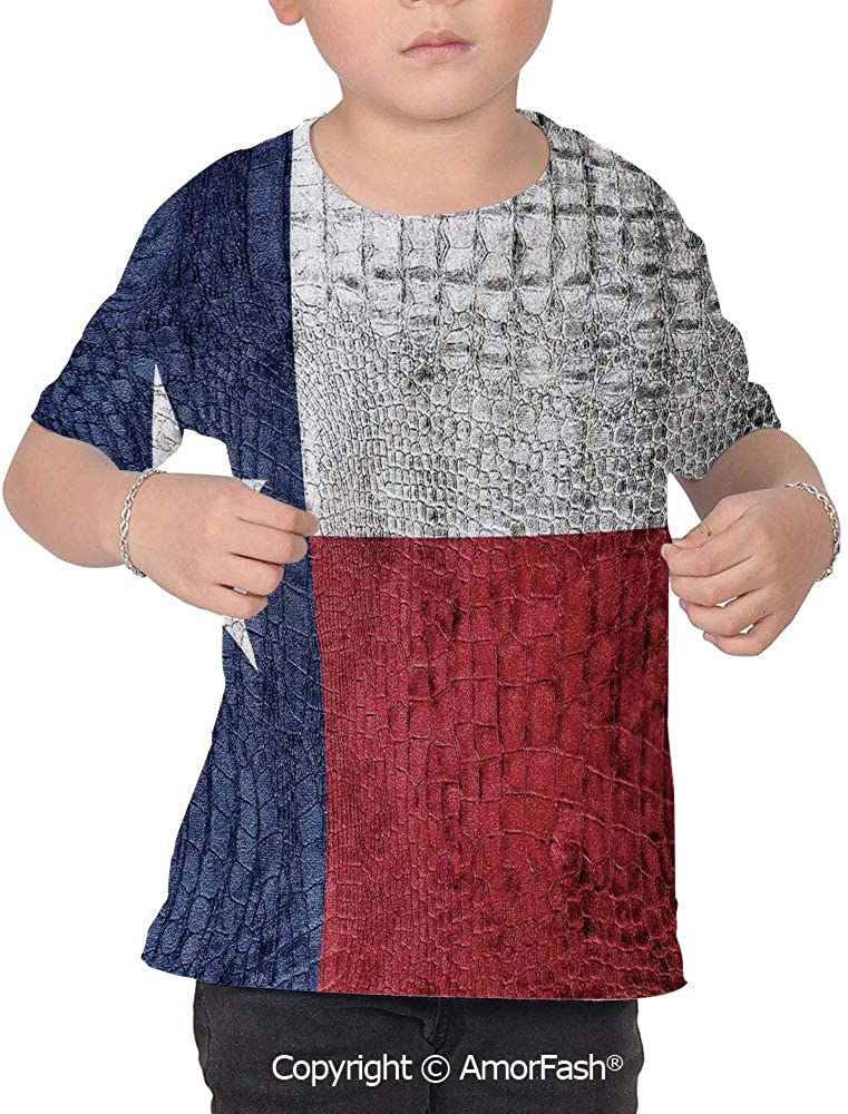 PUTIEN Western Decor Colorful Boys and Girls Soft Short Sleeve T-Shirt,Texas State Flag
