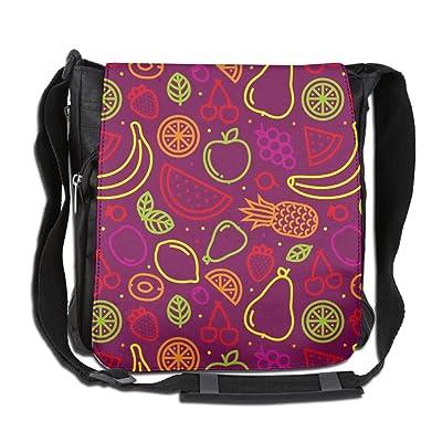 lovely Fruits Pattern Purple Fashion Outdoor Lightweight Backpack Single Shoulder Crossbody Bags For Men & Women