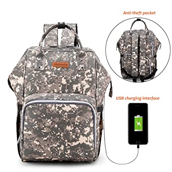 e87e08d736589 Amazon.com : Diaper Bag Backpack Baby Bag with USB Charging Port Large  Capacity Waterproof Multi-Function Travel Maternity Nappy Bag Stroller  Straps ...