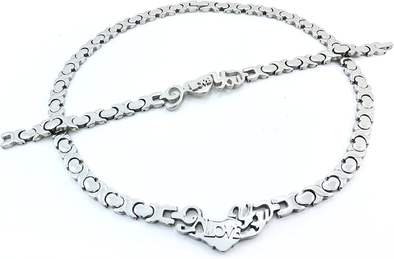 Acier Inoxydable 3 Tone I Love You Hugs /& Kisses Set XO Collier /& Bracelet 18