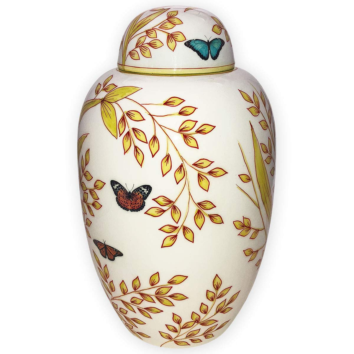 Garden Butterfly Cremation Urn by Beautiful Life Urns - Hand-Painted Funeral Urn Adorned with Butterflies (Adult, Large)