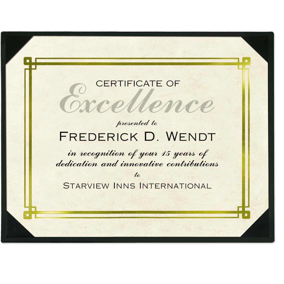 Black Leatherette Award Board, 10.75 x 13 inches, holds 8.5 x 11 inch certificate, gold accents, 3 count