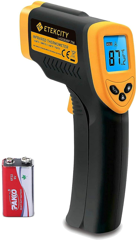Etekcity Digital Laser Infrarot Thermometer Ir Pyrometer Berührungslos Temperaturmessgerät Temperaturmesser 50 Bis 380 C Lcd Beleuchtung Gelb Schwarz Lasergrip 774 Nicht Für Menschen Baumarkt