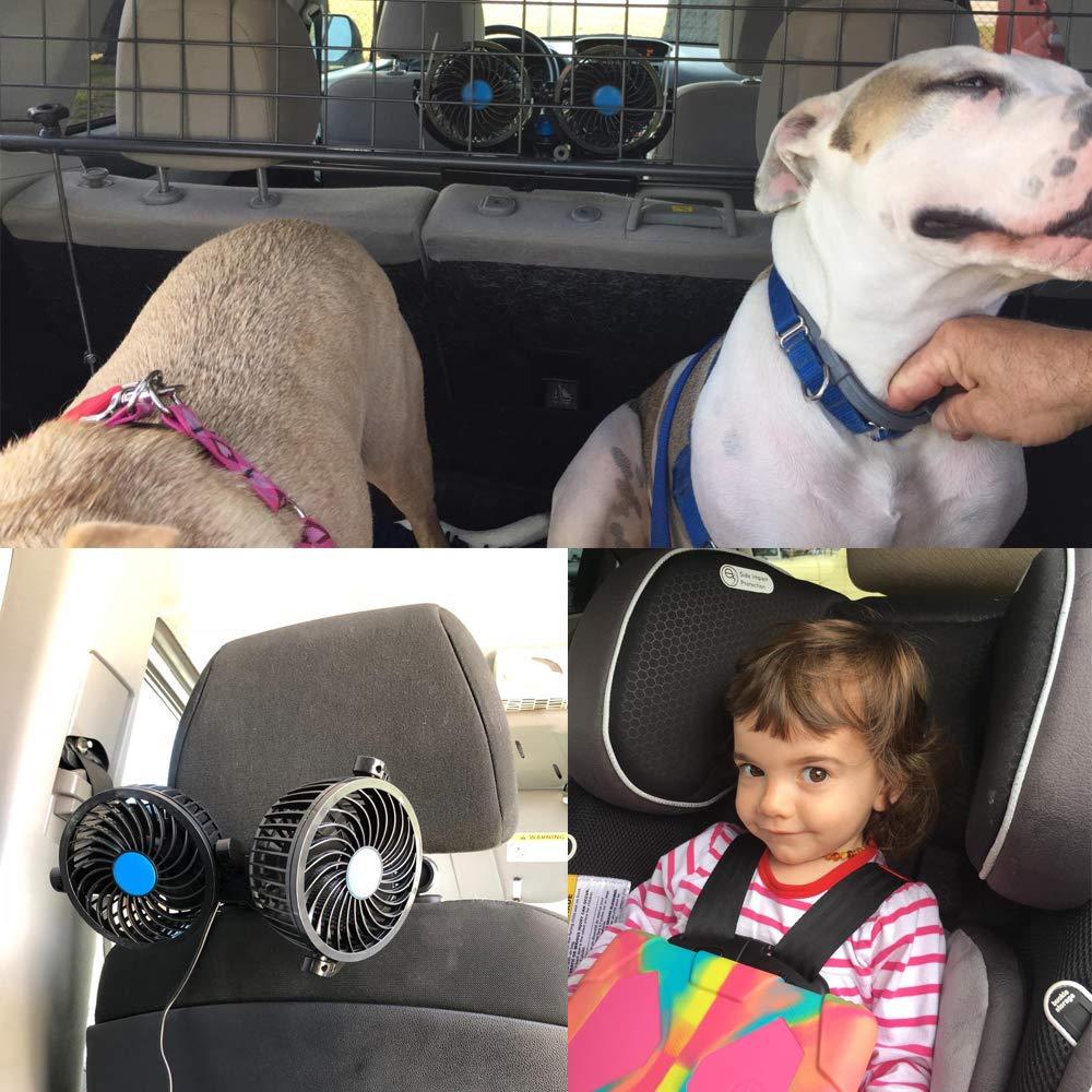 SEAMETAL Car Fan for Back Seat, Car Seat Fan Cigarette Lighter, Fan for Car 12V Headrest Black 4inches (Blue) by SEAMETAL (Image #6)