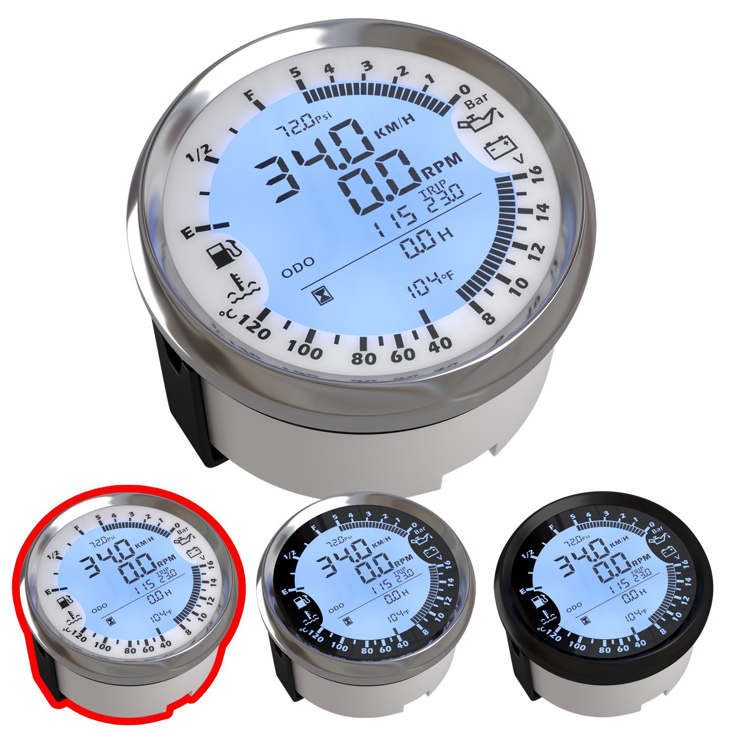 Atach 85mm Digital Gps Speedometer Tachometer And Wiring Voltmeter Motorcycle Multimeter 6 In 1 Functions White Silver Bezel Automotive