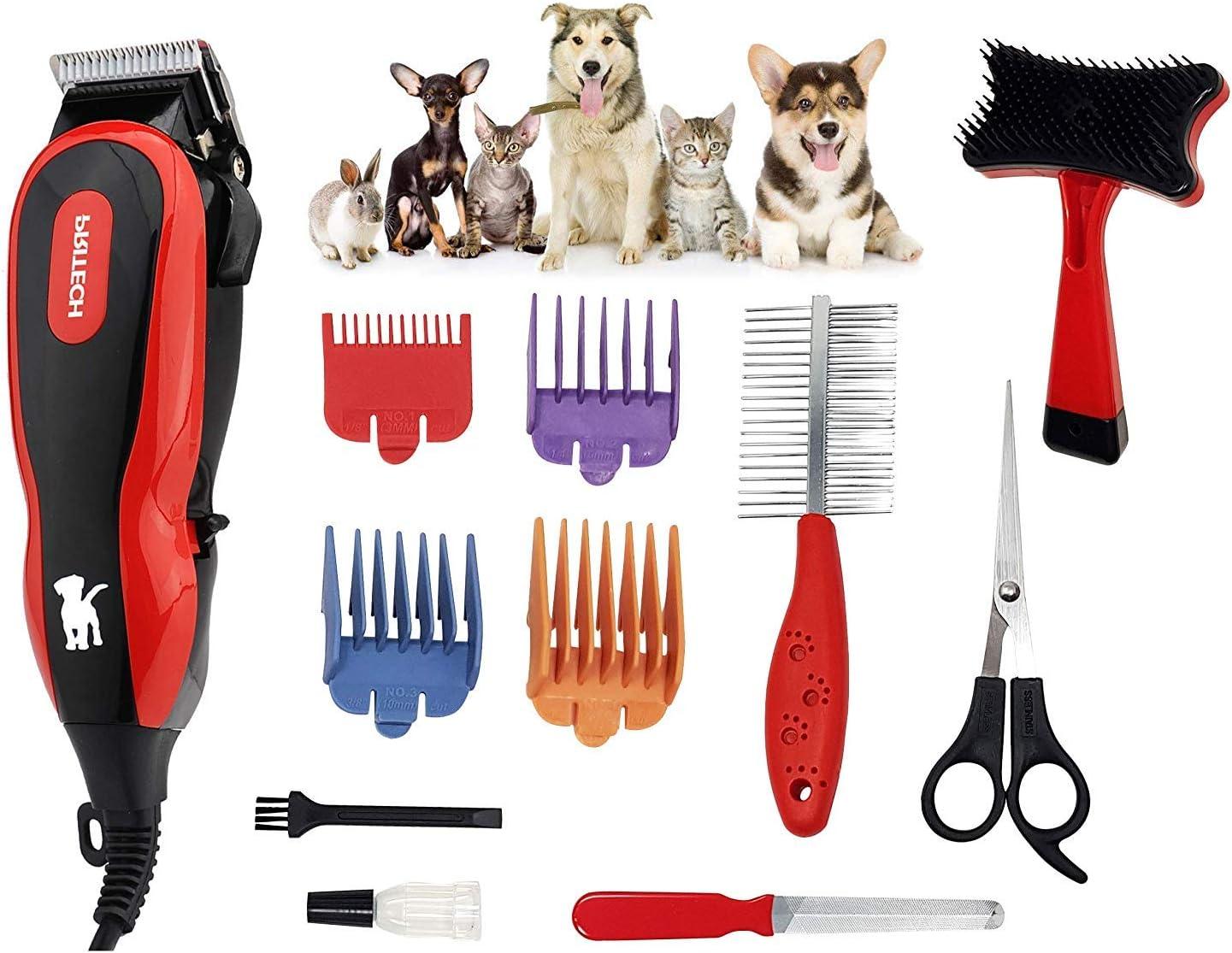 Pritech - Cortapelos de Alta Potencia con cable Silencioso para mascotas con Professional Kit y Estuche de Almacenamiento. PR-2063