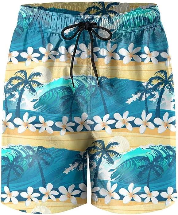 042bbc673568b Custom Tropical Surfing with Palm Trees Fashion Young Men Beach Board Shorts  Pants | Amazon.com