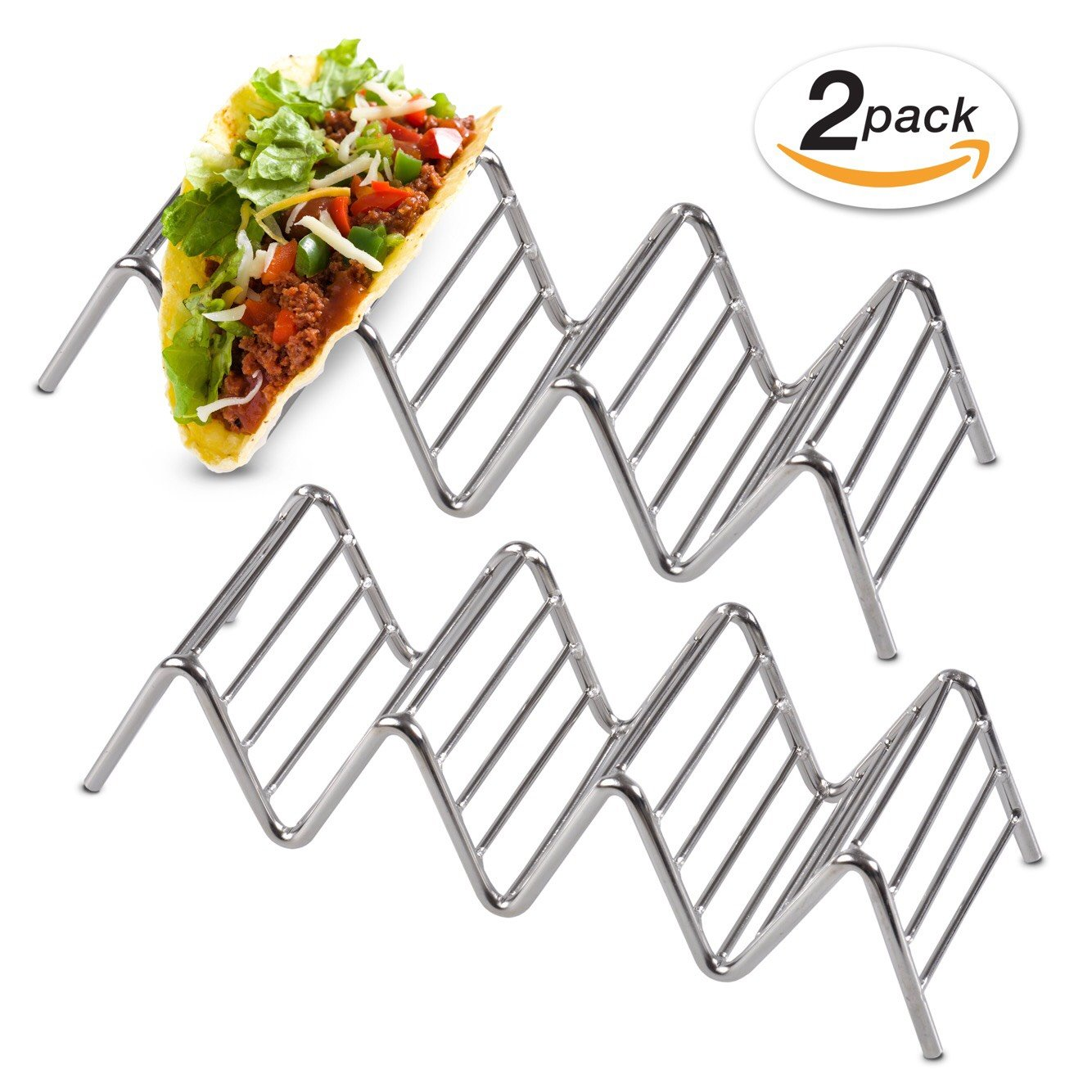 Taco Holders Stainless Steel Beautiful Shiny Rust-Resistant Stainless Steel Taco Holder Stand Dishwasher & Oven Safe for Better Filling & Serving 2 Pack Taco Rack Holders by TacoWize