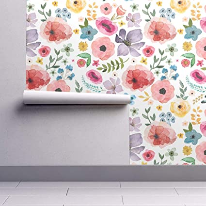 Peel And Stick Removable Wallpaper Flowers Floral Bright