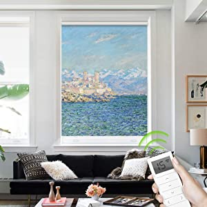 Yoolax Motorized Smart Blinds Painting Print, Blackout Roller Shade Compatible with Alexa Customized Size, Remote Wireless Electric Window Shades for Home (Antibes Afternoon Effect)