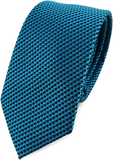 TigerTie - corbata estrecha - azul turquesa negro modelada: Amazon ...