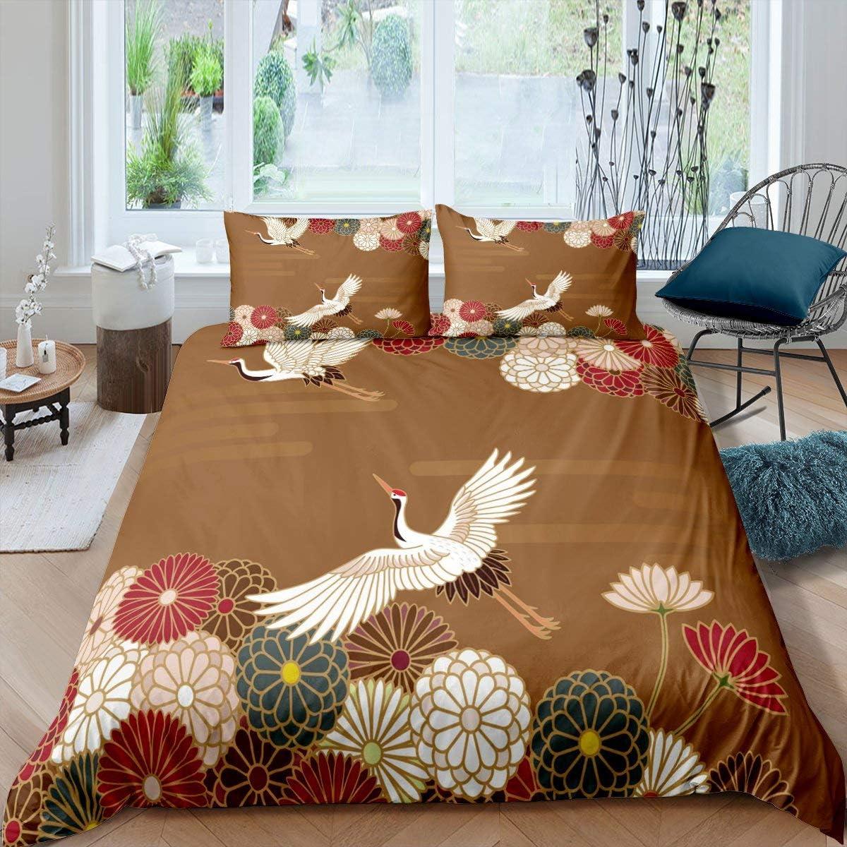 Amazon.com Japanese Crane Duvet Cover Flying Birds Comforter ...