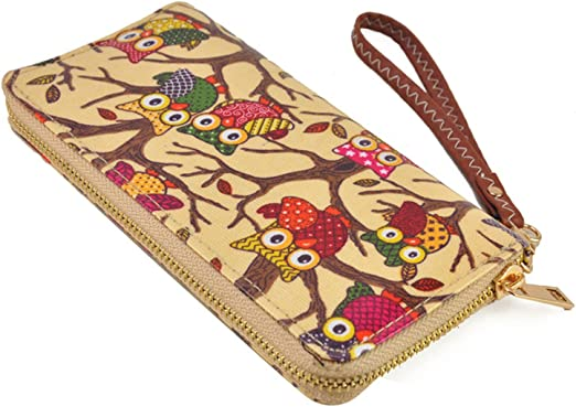 Ladies Designer Purses Wallets Owl Printed Design Zipped Coin Card Holder New In