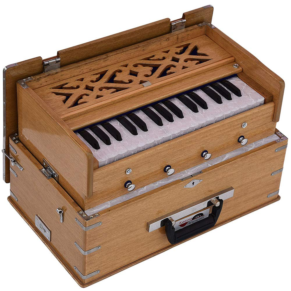 Safri Harmonium- 2¾ Octave By Kaayna Musicals-Portable, Traveler, Baja, 4 Stops (2 Drone), Two Set Reed- Bass/Male, Teak Color, Gig Bag, Tuning: 440 Hz, Suitable for Yoga, Bhajan, Kirtan, Mantra, etc by Kaayna Musicals (Image #6)