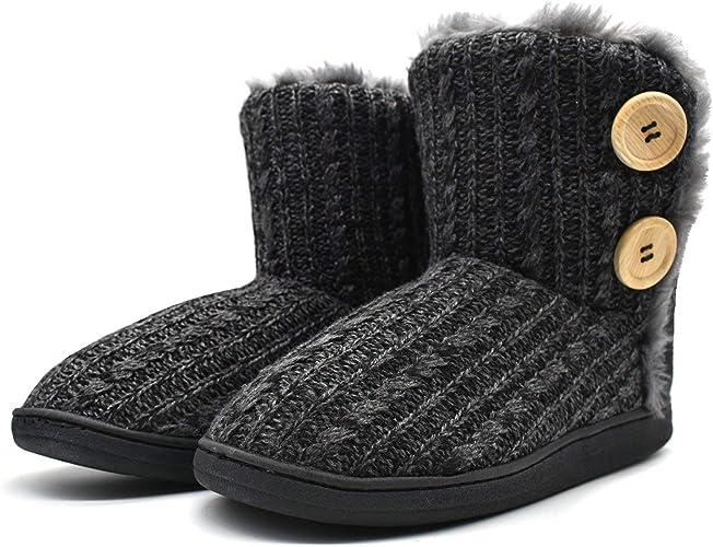 kuailu damen slipper stiefel gestrickte pelzige drinnen drau�en hausschuhe gem�tliche slouch pantoffeln  amazon com amali morris, men& 39;s