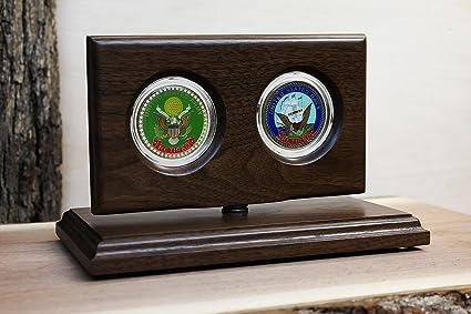 Challenge Coin Rotating Display Case - Natural Black Walnut
