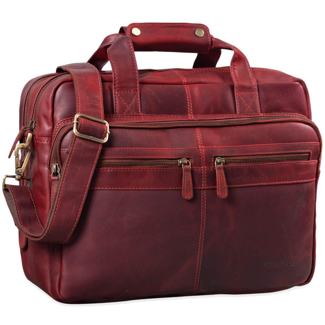 STILORD 'Explorer' Lehrertasche Leder Herren Damen Aktentasche Büro Schulter- oder Umhängetasche für Laptop mit Dreifachtrenner Echt Leder Vintage, Farbe:matt - Dunkelbraun