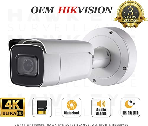 4K PoE Security IP Camera – Compatible with Hikvision DS-2CD2685G0-IZS UltraHD 8MP Vari-Focal EXIR Bullet Onvif Weatherproof 2.8-12mm Motorized Lens Best Home Business Security 3 Year Warranty
