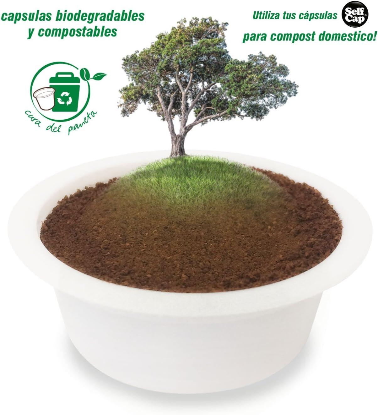 SelfCap C/ápsulas de Caf/é COMPOSTABLES Y BIODEGRADABLES para llenar con tu Mezcla preferida de caf/é-t/é-Hierbas compatibles con cafeteras LAVAZZA A Modo Mio