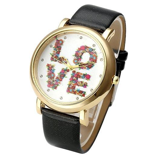 jsdde Relojes, Vintage Flores Love Mujer Reloj De Pulsera Basel Estilo de Reloj de Cuarzo Piel Reloj de Pulsera Top Watch, Negro: Amazon.es: Relojes