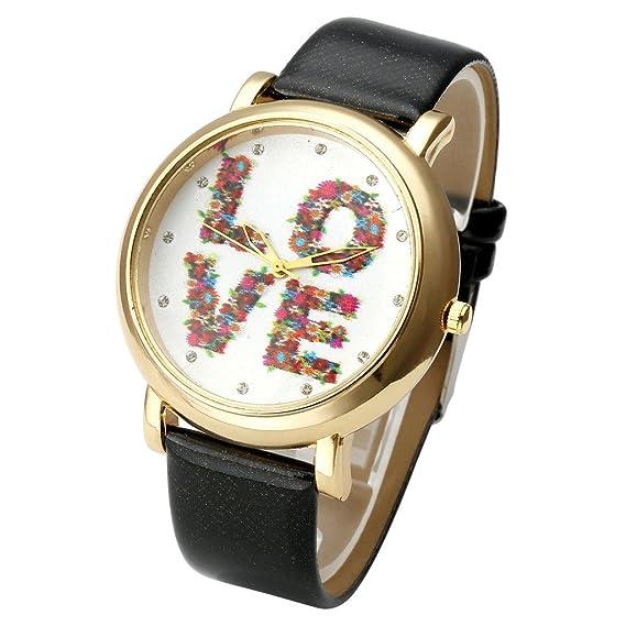 jsdde Relojes, Vintage Flores Love Mujer Reloj De Pulsera Basel Estilo de Reloj de Cuarzo