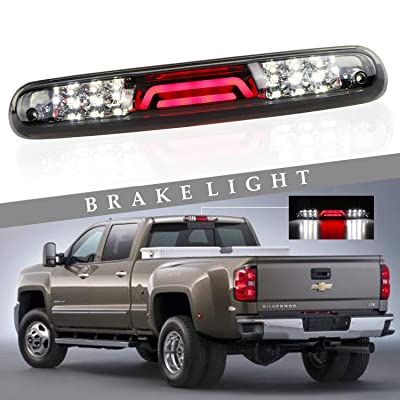 (Smoke) for 2007-2013 Chevy Chevrolet Silverado/GMC Sierra 3D LED Bar 3rd Third Tail Brake Light Rear Cargo Lamp High Mount Stop light Chrome Housing: Automotive